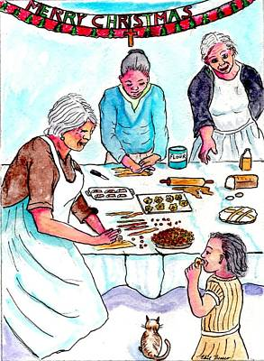 All The Girls Baking For Christmas Art Print