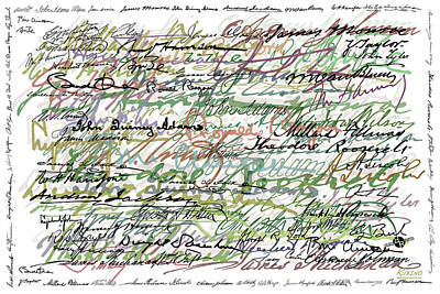 President Obama Painting - All The Presidents Signatures Green Sepia by Tony Rubino