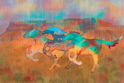 Art Print featuring the digital art All The Pretty Horses by Christina Lihani