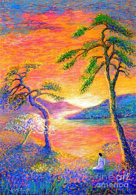 Mystical Landscape Painting -  Buddha Meditation, All Things Bright And Beautiful by Jane Small