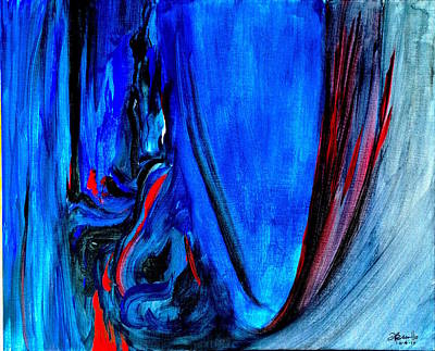Coffee Jazz Music Abstract Painting - All Too Blue by Andrew Cravello