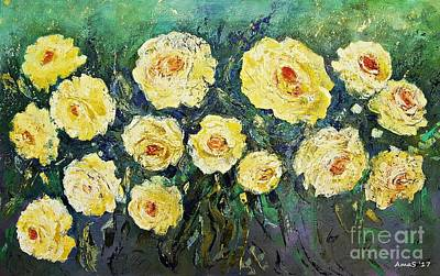 Painting - All Yellow Roses by AmaS Art