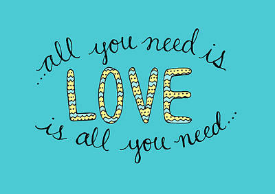 All You Need Is Love Blue And Yellow Art Print
