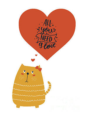 Digital Art - All You Need Is Love Cute Cat by Edward Fielding