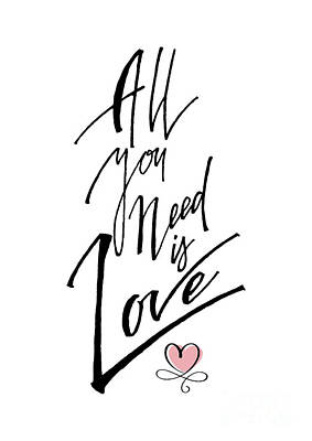 Digital Art - All You Need Is Love Word Art by Toula Mavridou-Messer