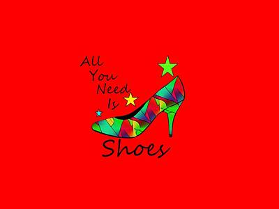 Digital Art - All You Need Is Shoes Red - Fashion by Kathleen Sartoris