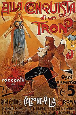 Mixed Media - Alla Conquista Di Un Trono - Swordsman - Vintage Advertising Poster by Studio Grafiikka