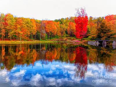 Photograph - Allegany State Park Red House Lake Abstract Watercolor Effect by Rose Santuci-Sofranko