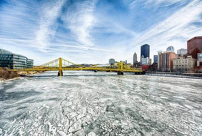 Allegheny River Frozen Over Pittsburgh Pennsylvania Art Print by Amy Cicconi