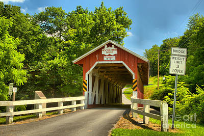 Photograph - Allegheny Township New Baltimore Covered Bridge by Adam Jewell