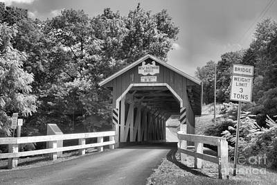 Photograph - Allegheny Township New Baltimore Covered Bridge Black And White by Adam Jewell