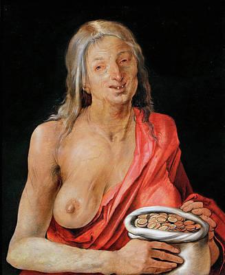 Durer Painting - Allegory Of Avarice by Albrecht Durer
