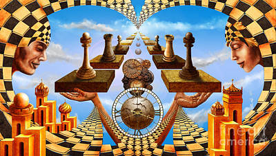 Allegory Of Chess. Equal Exchange Art Print
