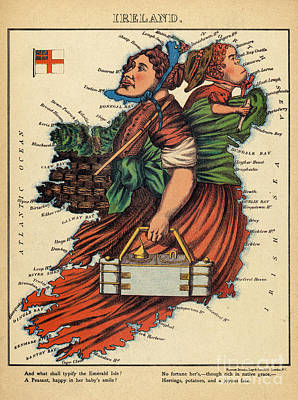 Allegory Drawing - Allegory Of Ireland by English School