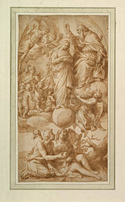 Immaculate Drawing - Allegory Of The Immaculate Conception With The Fall Of Man by Alessandro Turchi