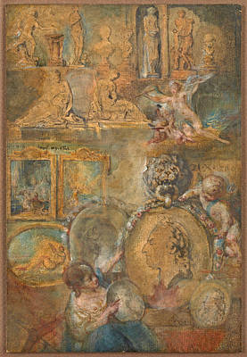 Painting - Allegory Of The Salon Of 1769 by Gabriel de Saint-Aubin