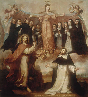 Allegory Of The Virgin Patroness Of The Dominicans Art Print by Miguel Cabrera