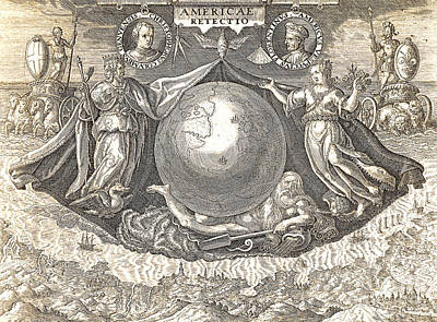 Explorer Drawing - Allegory Of West Indies Or Americas by Theodore de Bry