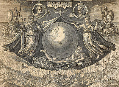 Christopher Columbus Drawing - Allegory Of West Indies Or Americas, With Portraits Of Navigators Columbus And Vespucci by Theodore de Bry