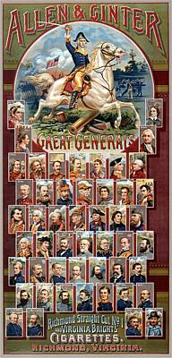 Landscape Photos Chad Dutson - Allen and Ginter - Great Generals - Virginia Brights Cigarettes - Vintage Advertising Poster by Studio Grafiikka