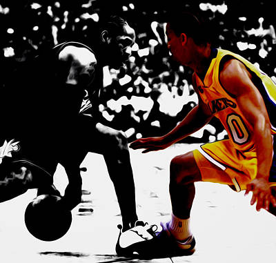 Allen Iverson And Tyronn Lue Print by Brian Reaves