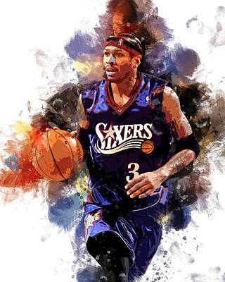 Sixers Digital Art - Allen Iverson Nba by Rinaldo Ananta