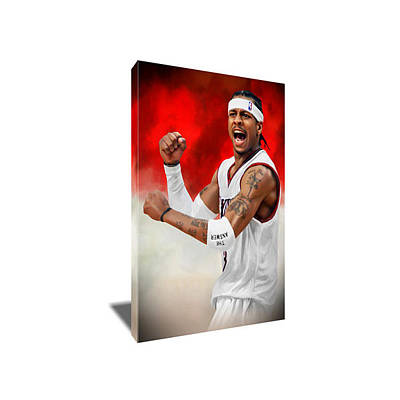 Sixers Painting - Allen Iverson Only The Strong Survive Canvas Art by Artwrench Dotcom