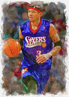 Athletes Royalty-Free and Rights-Managed Images - Allen Iverson Paint by Ricky Barnard