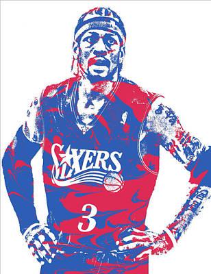 Nba Mixed Media - Allen Iverson Philadelphia 76ers Pixel Art 15 by Joe Hamilton