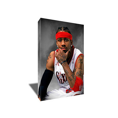 Sixers Painting - Allen Iverson Portrait Canvas Art by Artwrench Dotcom