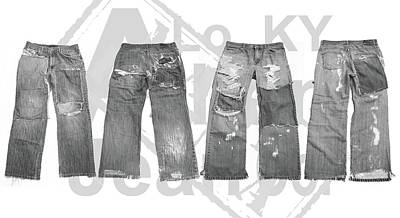 Mixed Media Royalty Free Images - Allen Jean Company Logo and jeans BW Royalty-Free Image by Joshua Allen