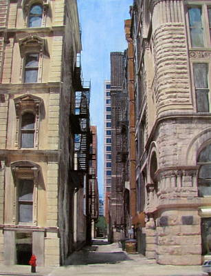 Mixed Media - Alley - Michigan Ave. by Anita Burgermeister