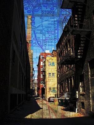 Digital Art - Alley 3rd Ward W Map by Anita Burgermeister