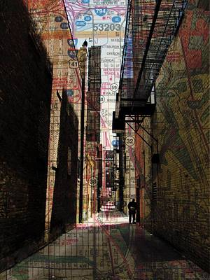Digital Art - Alley And Guy Reading W Map by Anita Burgermeister