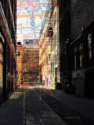Digital Art - Alley Front Street W Map by Anita Burgermeister