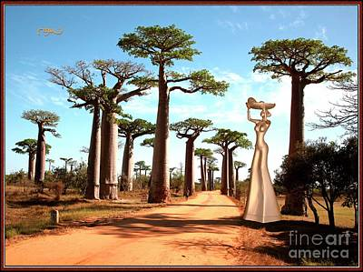 alley of baobabs and a statue of a  Girl Art Print by Pemaro