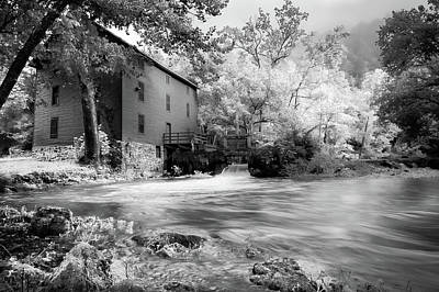 Photograph - Alley Spring Mill - Infrared Bw by Gregory Ballos
