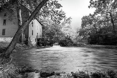 Photograph - Alley Spring Water Mill In Missouri - Black And White  by Gregory Ballos