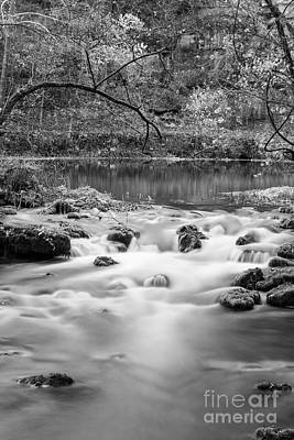 Photograph - Alley Springs Rapids Grayscale by Jennifer White