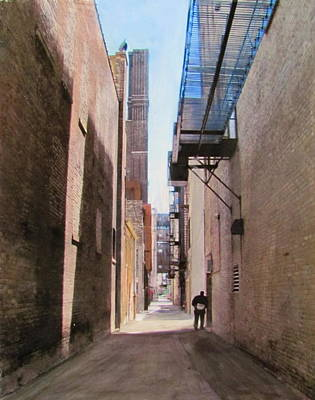 Mixed Media - Alley W Guy Reading by Anita Burgermeister