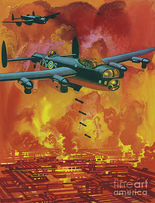 Painting - Allied Bombers Attacking The Research Station In Which The Germans Were Working On Poisonous Gas by Ron Embleton