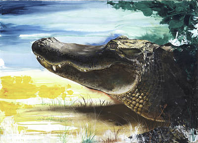 Florida Artists Mixed Media - Alligator by Anthony Burks Sr
