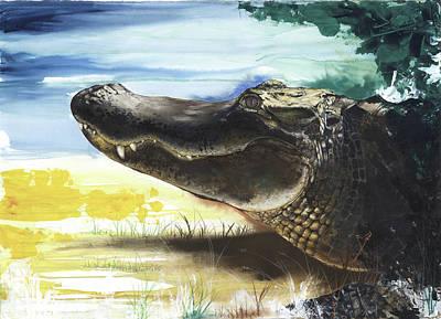 Alligator Mixed Media - Alligator by Anthony Burks Sr