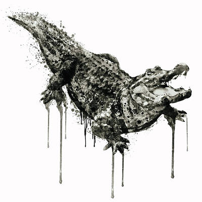 Mixed Media - Alligator Black And White by Marian Voicu