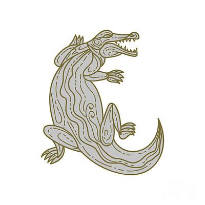 Alligator Digital Art - Alligator Climbing Up Mono Line by Aloysius Patrimonio