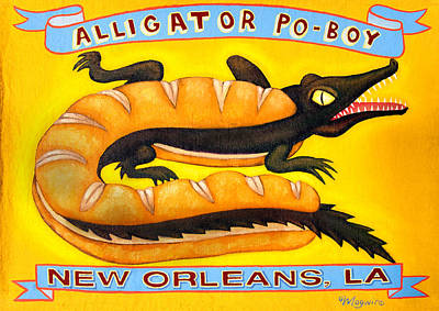 Juxtapose Painting - Alligator Po-boy by Molly McGuire