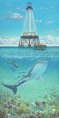 Underwater View Painting - Alligator Reef Lighthouse by Danielle Perry