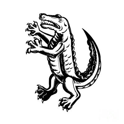Alligator Digital Art - Alligator Standing Scraperboard  by Aloysius Patrimonio
