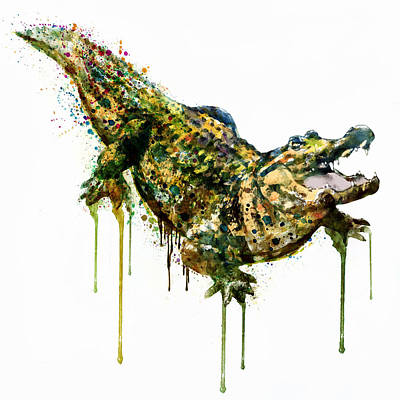 Alligator Watercolor Painting Print by Marian Voicu