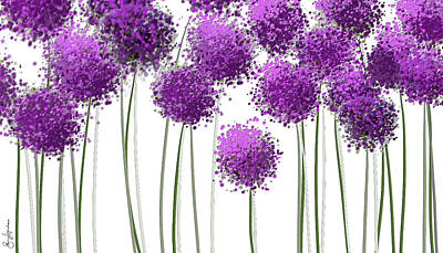 Allium Painting - Alliums Flower Art - Purple And Gray Art by Lourry Legarde